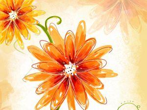 Drawing of orange flowers