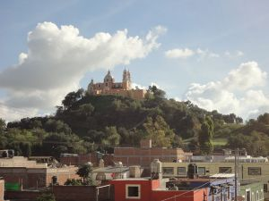 "View of Cholula Pyramid with the Sanctuary of ""Virgen de los Remedios"""