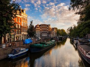 Sunrise on the beautiful city of Amsterdam, Netherlands