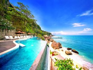 Seaside pool with a panoramic view