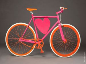 Bicycle with pink heart