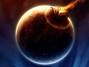 Impact of a meteorite