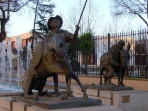 Statues of Don Quixote and Sancho Panza in Ciudad Real (Spain)