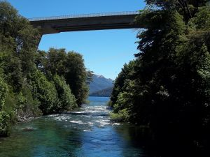 Correntoso river and bridge of National Route 231 (Neuquén, Argentina)