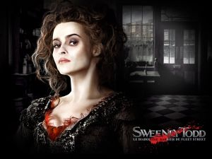 "Helena Bonham Carter in the film ""Sweeney Todd, the demon barber of Fleet street"""
