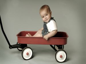 Baby in a wheelbarrow