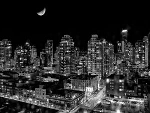 Night with moon in the city