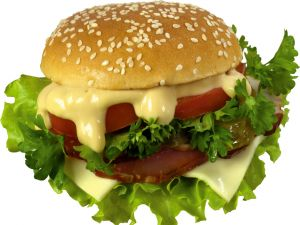 Burger with mayonnaise