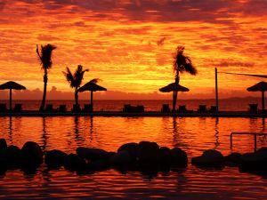 Orange sky in the beach