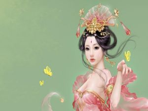 Oriental woman with yellow butterflies