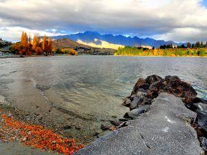 Coast near of Frankton in New Zealand