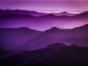 Mountains in lilac tones