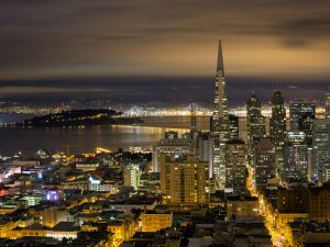 Night in the city of San Francisco
