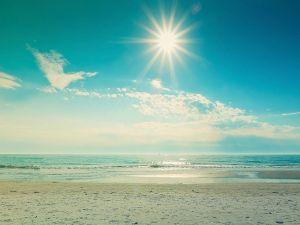 Bright sun on the beach
