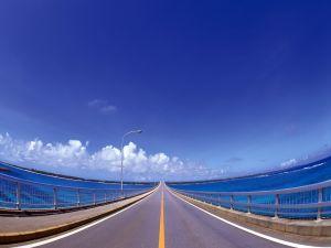 Road crossing the sea