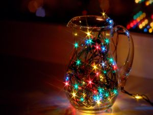 Christmas lights in a jug
