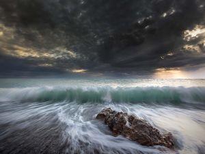 Waves, sea and sky