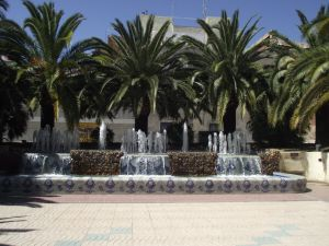 Fountains and palm trees