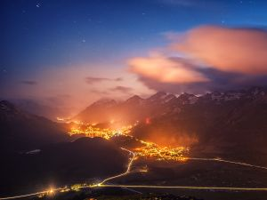 Stars and lights in the mountains