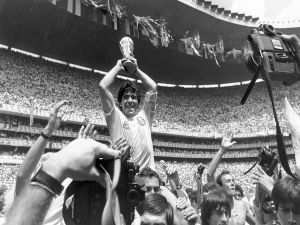Maradona lifting the World Cup Football