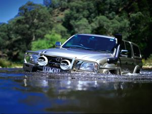 A 4x4 car in water