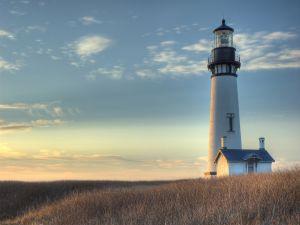"""Lighthouse """"Yaquina Head Light"""", on the Oregon coast"""