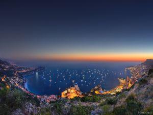 Illuminated boats at sea