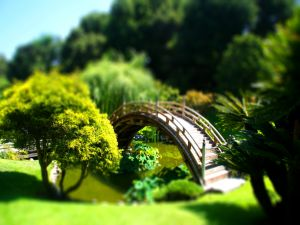 Miniature park with a bridge