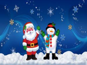 Santa Claus and a snowman