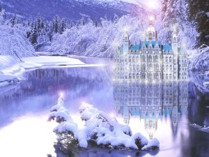 Palace on the frozen lake