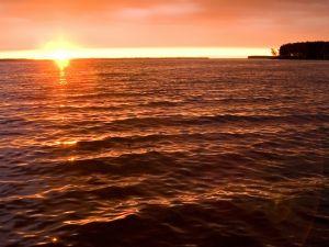 The sun rises on the beach