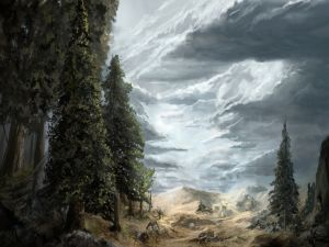 Landscape with trees and clouds