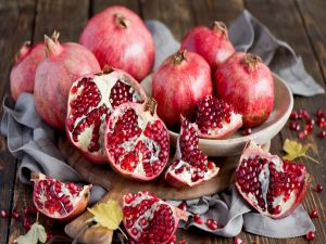 Tempting and delicious pomegranates