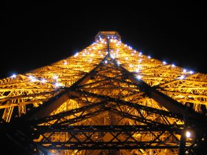 The Eiffel Tower lit