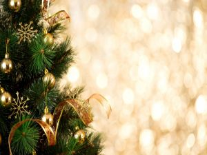 Christmas tree with golden ornaments