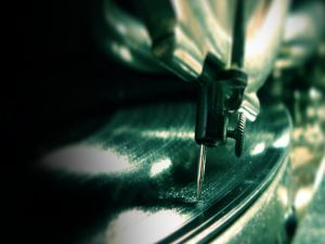 The needle of a record player