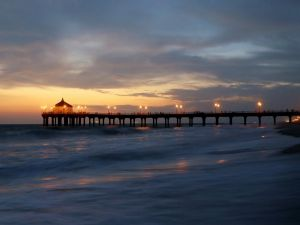 A pier at night