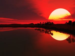 The sun in a red sky