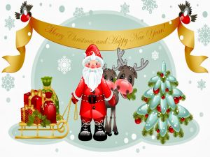 "Santa Claus with message ""Merry Christmas and Happy New Year"""