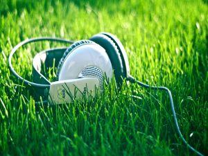 Headphones in the grass