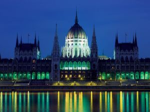 Budapest Parliament seen at night