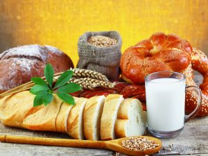 Breads, cereals and a glass of milk