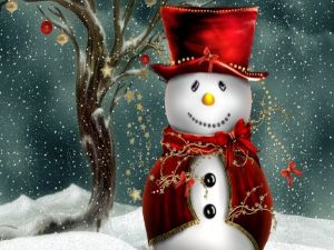 Snowman dressed elegantly