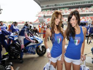 Girls in a motorcycle racing
