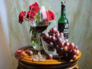 Wine, grapes and roses