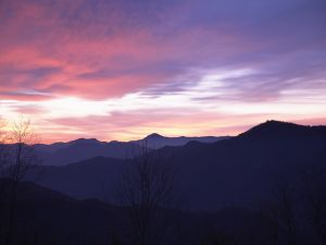 Sky of lilac tones over the mountains