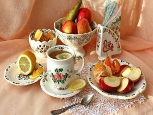 Tea with lemon and fruit