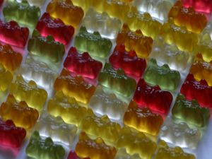 Gummy bears colored