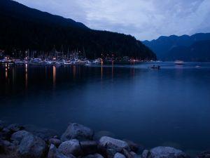 Boats on the lake at dusk