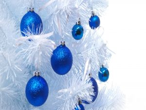 White Christmas tree with blue balls